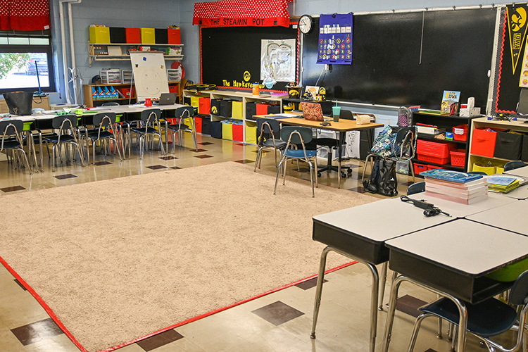 With students learning virtually from home, this first-grade classroom at Thurman Francis Arts Academy sits empty in Smyrna, Tenn., on Oct. 14, 2020. (MTSU photo by Stephanie Barrette)