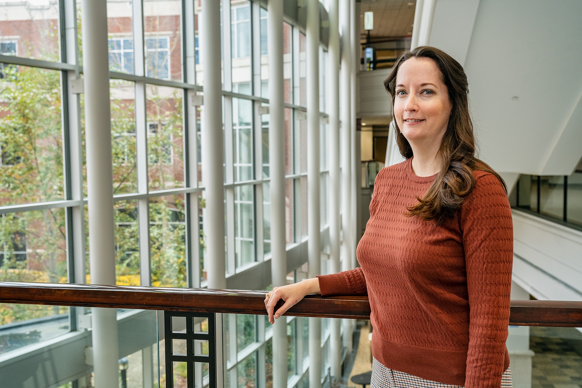 Amie Donahue, Jennings A. Jones College of Business Advisor, in and around Business and Aerospace Building (BAS). (Photo: Andy Heidt)