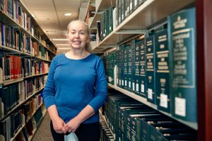 Karen Dearing, Reference & Instruction Librarian, James E. Walker Library, in and around the Library. (Photo: Andy Heidt)