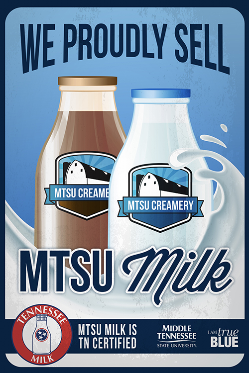 The poster promoting the MTSU Creamery won a Gold Award in the 2020 Tennessee College Public Relations Association contest. (Poster created by Brian Evans, Creative Marketing Solutions)