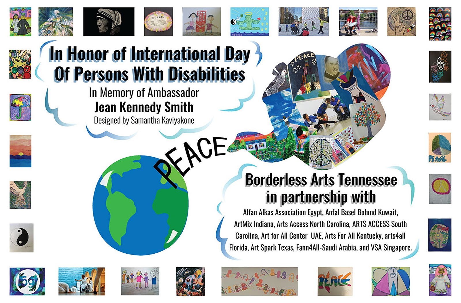 "This ""Pieces of Peace"" digital postcard, designed by MTSU senior media arts major Samantha Kaviyakone for the arts and advocacy program Borderless Arts Tennessee, is a compilation of images created by artists around the world for the 2020 United Nations International Day of Persons with Disabilities. (image courtesy of Borderless Arts Tennessee)"