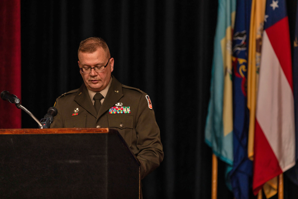 U.S. Army Reserve Brig. Gen. Robert Powell Jr. gives remarks during his promotion ceremony at Fort Gordon, Georgia, Dec. 15, 2020. With the promotion, Powell will serve as the deputy commanding general 335th Signal Command (Theater). (U.S. Army photo by Capt. David Gasperson)