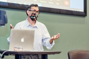 Rick Hinson talks with in-person and virtual learners about opportunities in the film industry. (Photo: Cat Murphy)