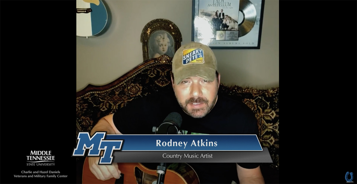 Country music entertainer Rodney Atkins performs a special song during the third annual MTSU Veteran Impact Celebration in early November. An encore presentation will air at 7 p.m. Tuesday, Dec. 29, on True Blue TV and the university's YouTube and Facebook channels. (MTSU screenshot)