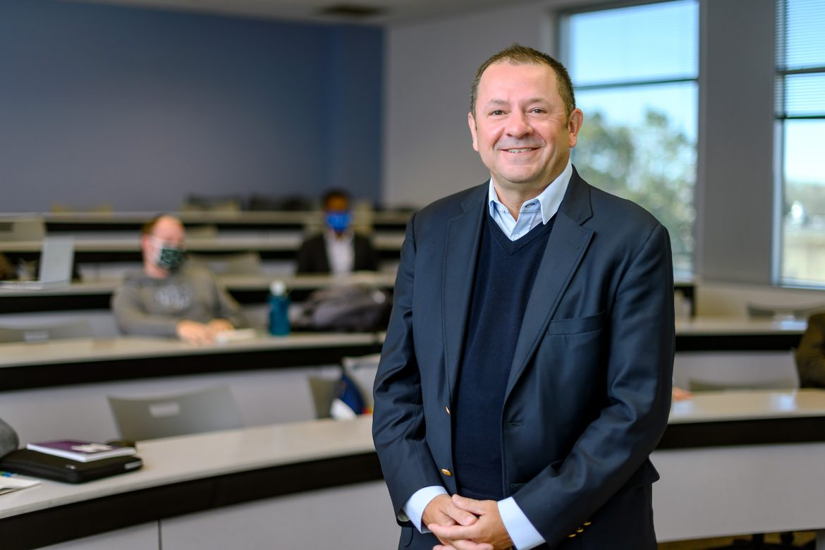 Faculty profile for Stuart Fowler, Economics & Finance in the Jones College of Business in his BAS classroom. (Photo: J. Intintoli)