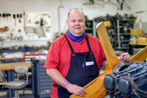 Bill Allen, Aerospace faculty in the maintenance hanger at the Murfreesboro Airport campus. (Photo: J. Intintoli)