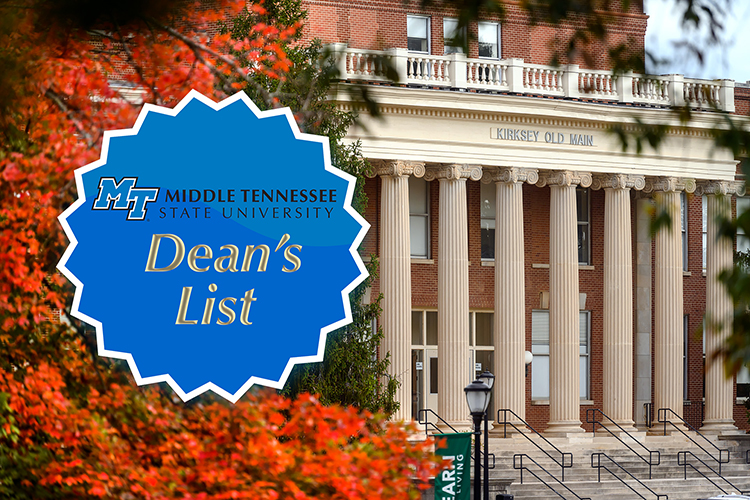 File image from November 2020 of fall leaves at Kirksey Old Main with the MTSU Dean's List badge superimposed over the photo. (MTSU photo by J. Intintoli)