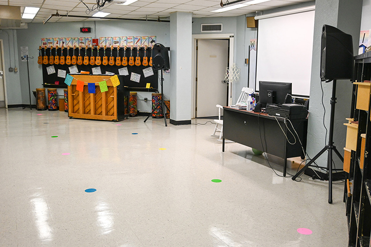 Stacy Ray, the music teacher at Homer Pittard Campus School, has an empty classroom while she fetches her next group of students in Murfreesboro, Tenn., on Nov. 4, 2020. (MTSU photo by Stephanie Barrette)