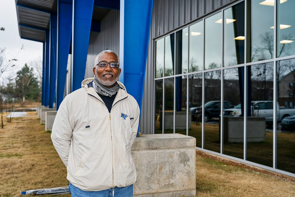 Ron Malone, Middle Tennessee State University's assistant vice president of Events and Transportation Services, looks forward to welcoming the campus community to the department's new building on City View Drive, pictured here on campus on Dec. 16, 2020. (MTSU photo by Andy Heidt)