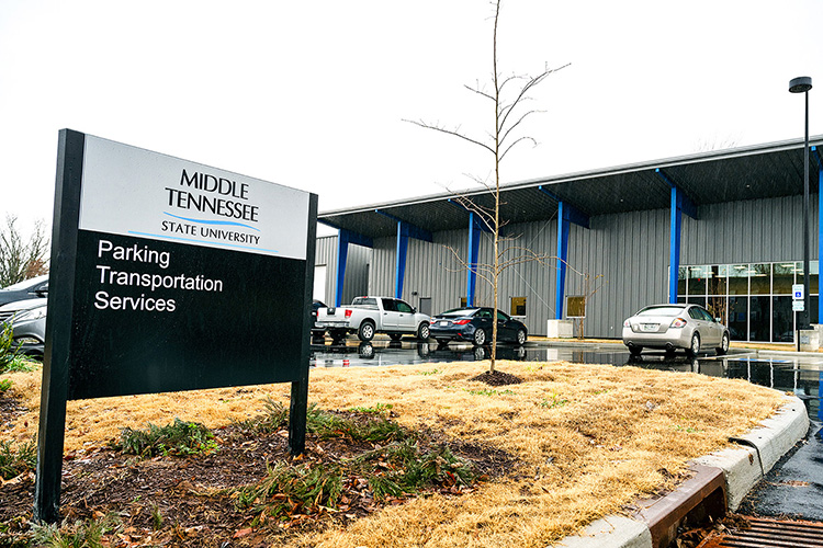 Middle Tennessee State University's new Parking and Transportation Services building opens on Jan. 4, 2020, on City View Drive. (MTSU photo by Andy Heidt)