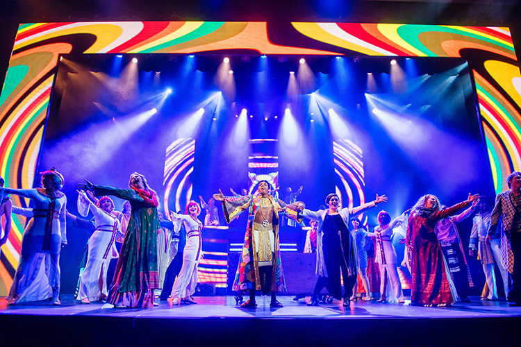 "Media arts students from Middle Tennessee State University designed and operated the multiple LED video displays for MTSU Theatre's production of ""Joseph and the Amazing Technicolor Dreamcoat"" shown here on April 4, 2018. (MTSU file photo by Eric Sutton)"