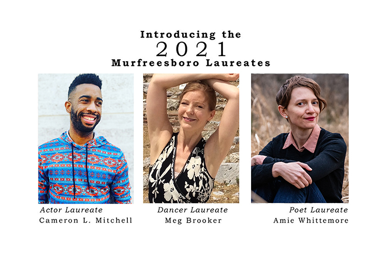 The 2021 Murfreesboro Cultural Arts Laureates are, from left, actor and spoken-word artist Cameron L. Mitchell, an MTSU aerospace alumnus and actor laureate; dance laureate Meg Brooker, associate professor and director of the MTSU Dance Program and artistic director for Duncan Dance South; and poet and English professor Amie Whittemore, a two-time Murfreesboro poet laureate. (images submitted)