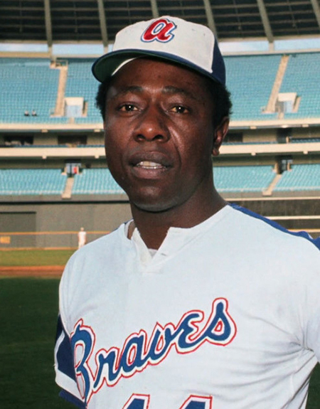 Hank Aaron broke Babe Ruth's home run record of 714 career home runs by hitting number 715 in Atlanta-Fulton County Stadium on April 8, 1974. (Wikimedia Commons)