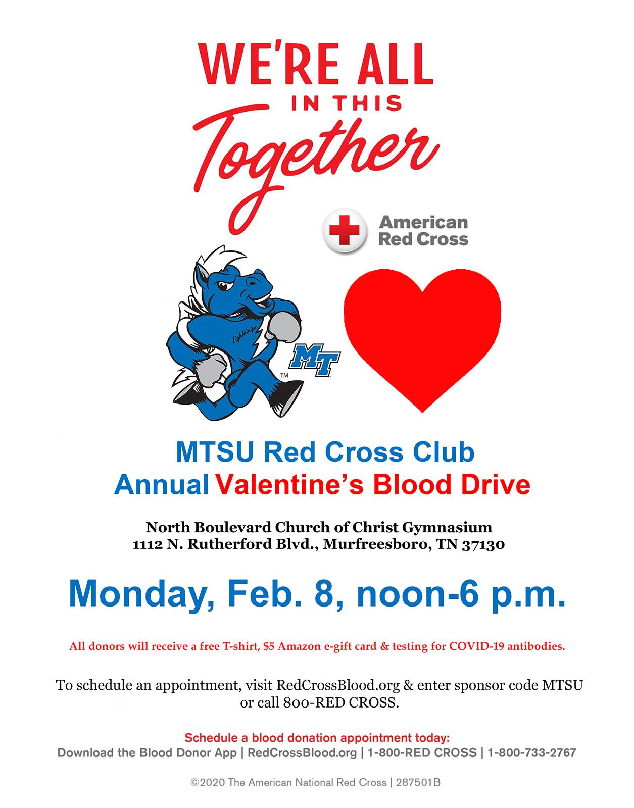 MTSU 2021 valentine blood drive poster
