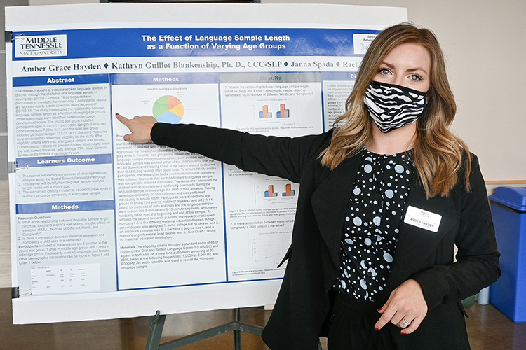 Amber Grace Hayden, a Middle Tennessee State University speech and language pathology student, explains her research findings at the university's Undergraduate Research Open House event held Nov. 10, 2020, in the Science Building mezzanine on campus. (MTSU photo by Stephanie Barrette)