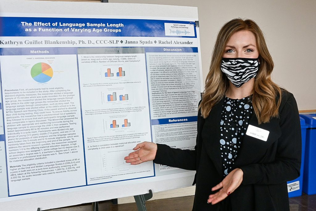 Amber Grace Hayden, a Middle Tennessee State University student majoring in speech and language pathology, shares her research at the university's Undergraduate Research Open House event held Nov. 10, 2020, in the Science Building mezzanine on campus. (MTSU photo by Stephanie Barrette)
