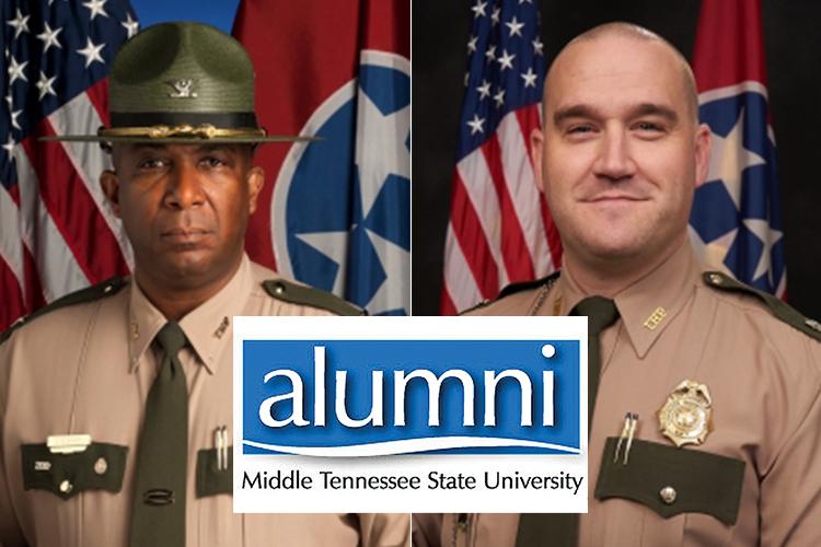 Col. Dereck Stewart, left, and Col. Matt Perry of the Tennessee Highway Patrol, MTSU alumni