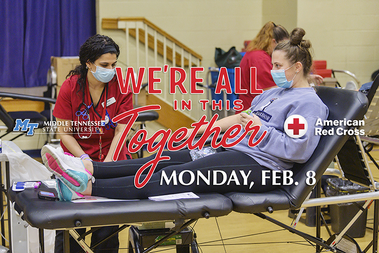 "Promo image featuring MTSU sophomore Taylor Shanklin, right, talking with American Red Cross nurse Nezzy Jaber at MTSU's 2020 ""Bleed Blue"" blood drive last September at the neighboring North Boulevard Church of Christ gymnasium with text reading"