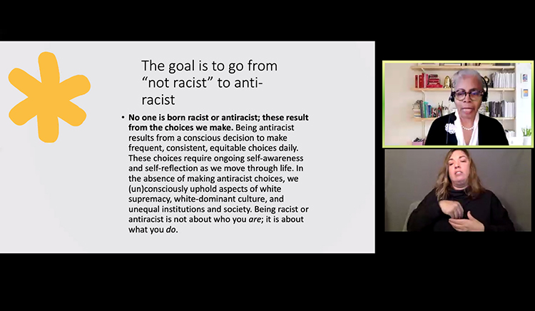 This screen grab from the the inaugural Racial Justice in Education and Society Virtual Conference hosted by Vanderbilt University on Dec. 5 shows Dr. Gloria Ladson-Billings, top right, president of the National Academy of Education, one of three keynote speakers during the daylong event, which was co-sponsored by the MTSU College of Education.