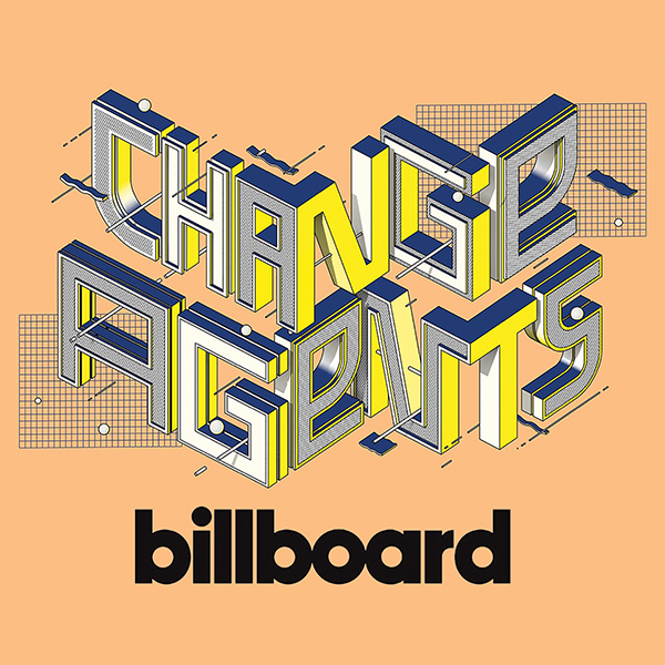"""graphic of Billboard magazine's 2021 """"Change Agents"""" list of music industry executives doing work toward social justice."""