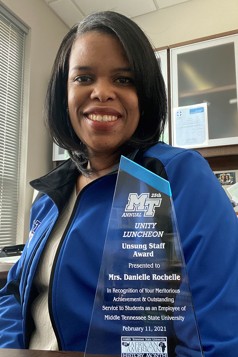 Danielle Rochelle, outreach coordinator for the MT One Stop and a member of MTSU Black History Month Committee, was the Unsung Staff Award recipient for this year's 25th Unity Celebration that recognized unsung heroes in the community as part of the University's Black History Month celebration. (Submitted photo)