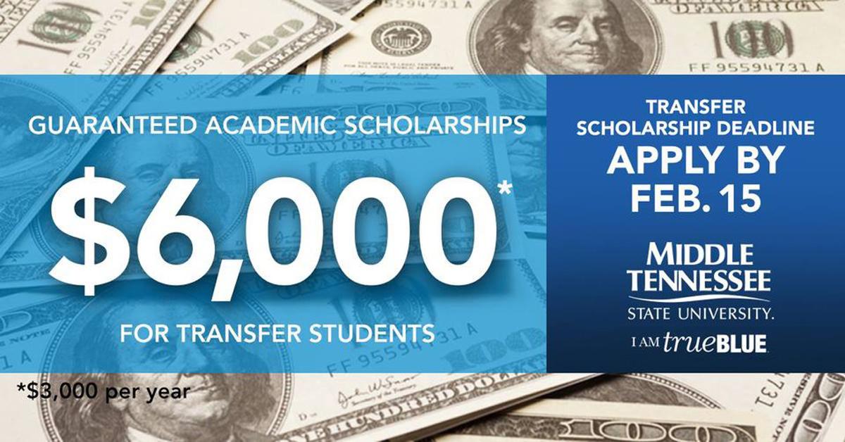 Feb. 15 MTSU Transfer Scholarship graphic