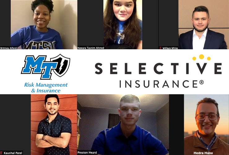A Middle Tennessee State University student team won the 2021 Selective Insurance Competition, a monthlong contest during which college teams from around the country run their on virtual agency and deal with real-world scenarios in the insurance industry. Pictured, top row from left, are Brittney Alford, Nawara Tasnim Ahmed, and William White; bottom row from left, Kausha Patel, Preston Heard, and Hedra Hana. (Student photos courtesy of Selective Insurance; MTSU photo illustration by Jimmy Hart)