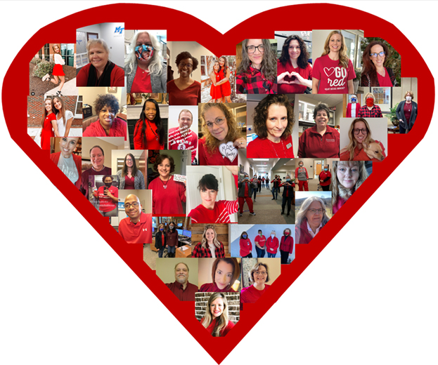 """Members of the MTSU campus community offered virtual support to the Feb. 5 """"Go Red for Women Day"""" by sharing photos on social media with the hashtag #truebluegoesred. (Photo collage courtesy of MTSU Health Services)"""