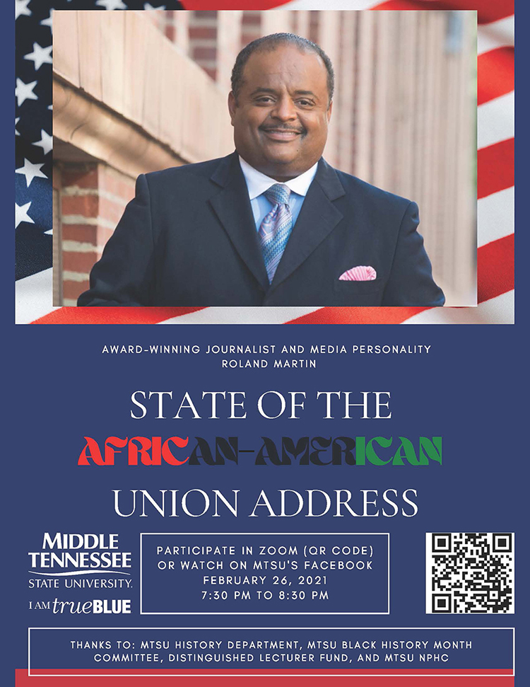 """Journalist Roland Martin, host and managing editor of the """"Roland Martin Unfiltered"""" daily digital program, will deliver a virtual """"State of the African American Union"""" address at 7:30 p.m. Friday, Feb. 26, as part of the MTSU Black History Month celebration. Access the event by using the QR code above."""