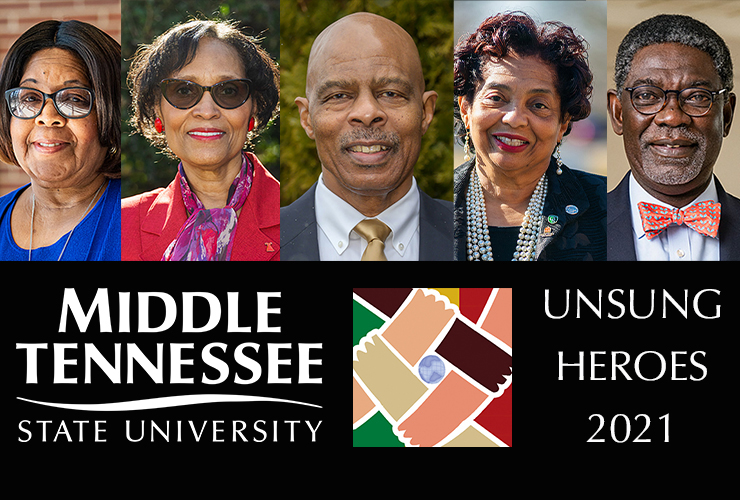 """MTSU will honor five """"unsung heroes"""" for their contributions to the community during the virtual Unity Celebration to be broadcast Thursday, Feb. 11, on the university's Facebook and YouTube channels. Pictured, from left, are honorees Sue Anderson, Violet Cox-Wingo, George Gibson, Christa Martin and Kim Sokoya. (MTSU photos by Creative Marketing Solutions; illustration by Jimmy Hart)"""