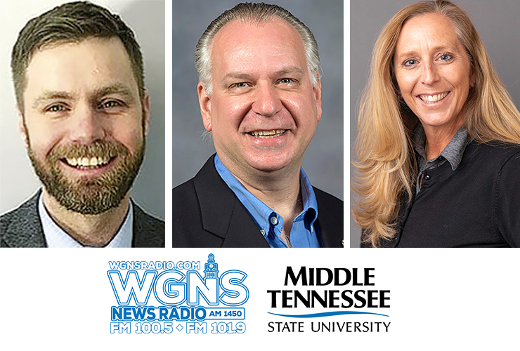 """MTSU faculty and community partners appeared by phone on WGNS Radio's Feb. 15 """"Action Line"""" program with host Scott Walker. Guests included, from left in order of appearance, Dr. Ryan Korstange, assistant professor of University Studies; Frank Baird, assistant professor of audio production and the new director of the Chris Young Café; and Kathleen Schmand, new dean of the James E. Walker Library. (MTSU photo illustration)"""