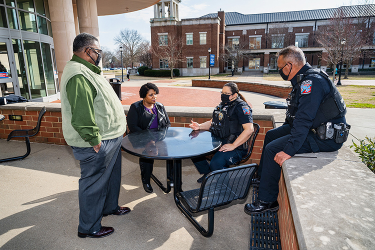 Middle Tennessee State University police officers and team members, from left, Leroy Carter, Vergena Forbes, Derrick Wharton and Joy Williams pose outside of the Student Union building on campus on Feb. 10, 2021. (MTSU photo by Andy Heidt)