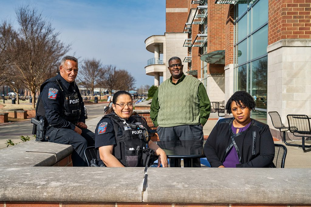 Middle Tennessee State University police officers and team members, from left, Derrick Wharton, Joy Williams, Vergena Forbes and Leroy Carter enjoy a sunny day on campus on Feb. 10, 20201. (MTSU photo by Andy Heidt)