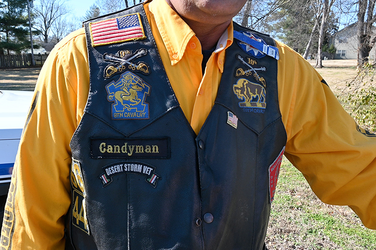 A close shot of Leroy Carter's, Middle Tennessee State University police officer, Buffalo Soldiers vest shows his patches for the African American 9th and 10th cavalry regiments, Carter's riding name 'Candyman' and more on campus on Feb. 5, 2021. (MTSU photo by Stephanie Barrette)