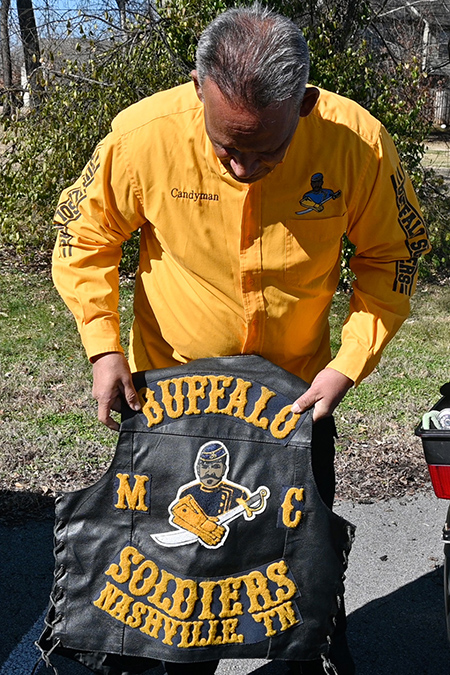 Leroy Carter, Middle Tennessee State University police officer and Buffalo Soldiers motorcycle club member, displays his vest decals for the Nashville chapter of the club on campus on Feb. 5, 2021. (MTSU photo by Stephanie Barrette)