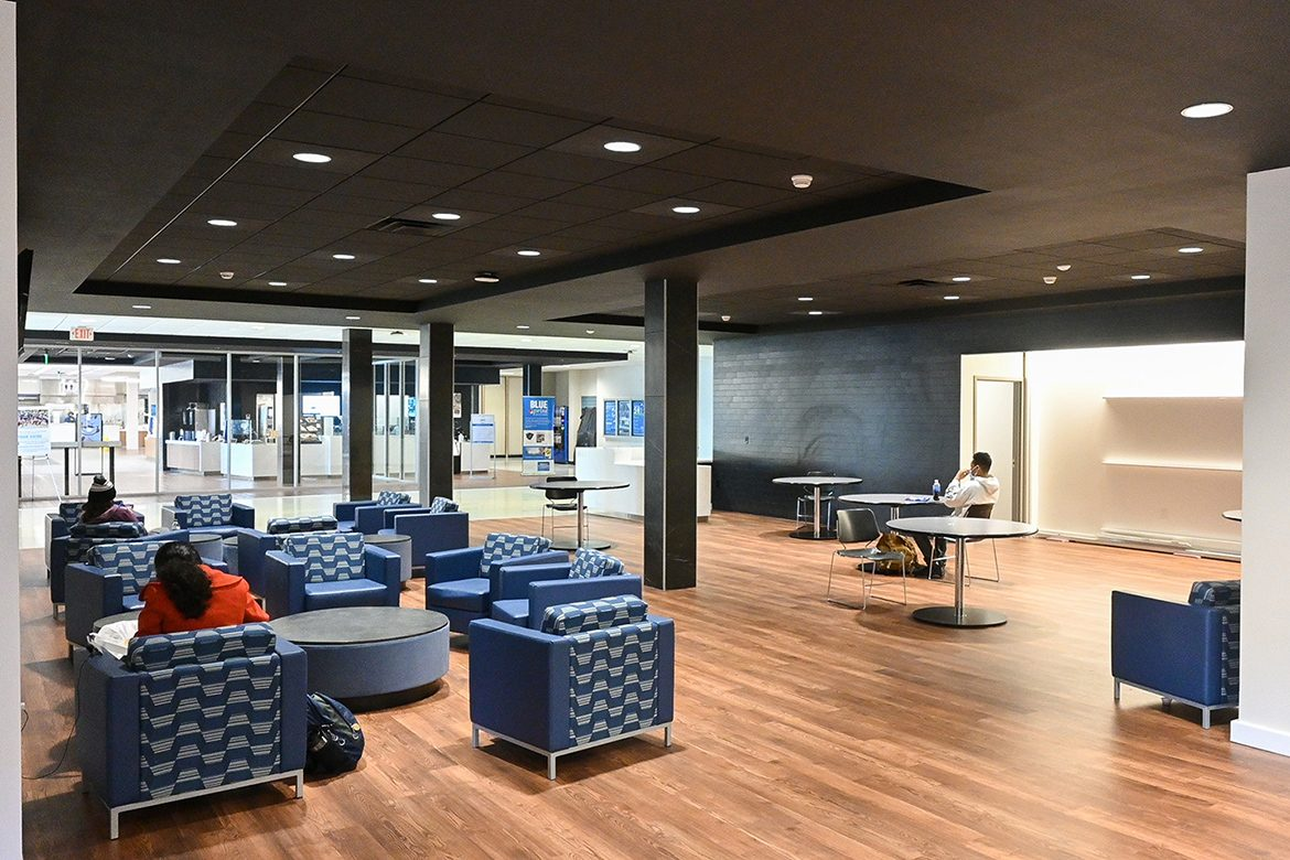 The renovated Keathley University Center lobby at Middle Tennessee State University features a contemporary design with True-blue accents and seating for students to catch up on homework or catch up with friends captured here on Feb. 5, 2021. (MTSU photo by Stephanie Barrette)