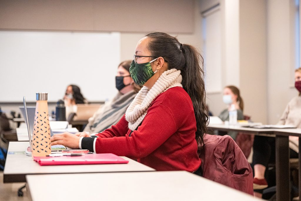 Middle Tennessee State University graduate student Juvi Mallari and others listen to a lesson during Jim Rost's education course on Feb. 2, 2021 on campus. (MTSU photo by Cat Murphy)