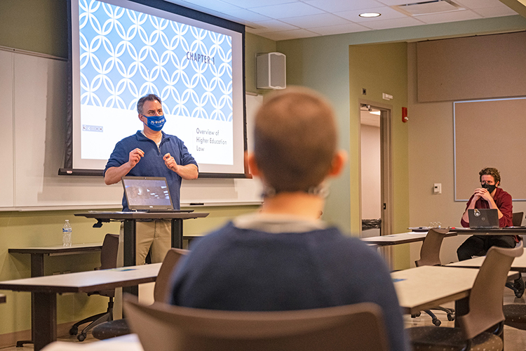 Middle Tennessee State University professor Jim Rost leads a graduate class on education administration on Feb. 2, 2021 on campus. (MTSU photo by Cat Murphy)