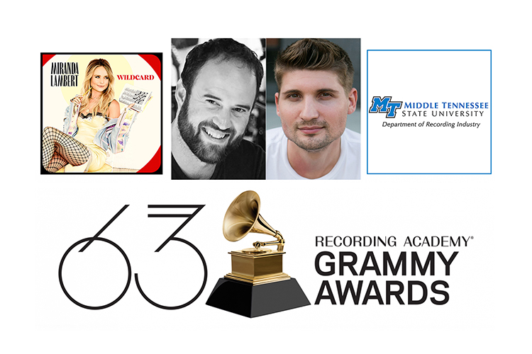 """promo image with 63rd annual Grammy Awards logo below cover of Miranda Lambert's 2019 CD """"Wildcard,"""" winner of the Grammy Award for best country album for 2020, photos of MTSU Department of Recording Industry alumni Jason A. Hall and Jimmy Mansfield, and the Department of Recording Industry logo."""