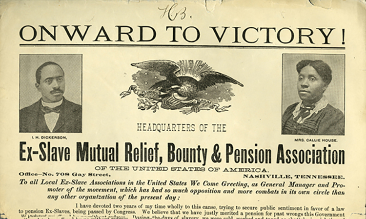 A broadside promoting the Ex-Slave Mutual Relief, Bounty and Pension Association features Callie House, right, a Murfreesboro-born promoter and assistant secretary of the organization, and Isaiah Dickerson, the general manager, with the emblem of the United States in the center. (Photo submitted).
