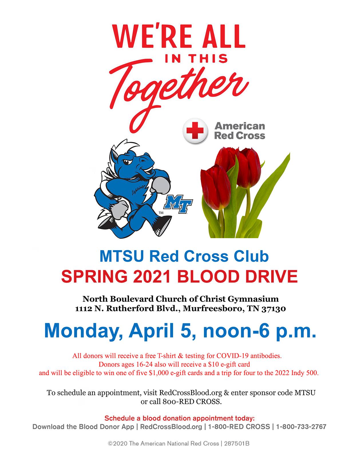 MTSU 2021 spring blood drive poster
