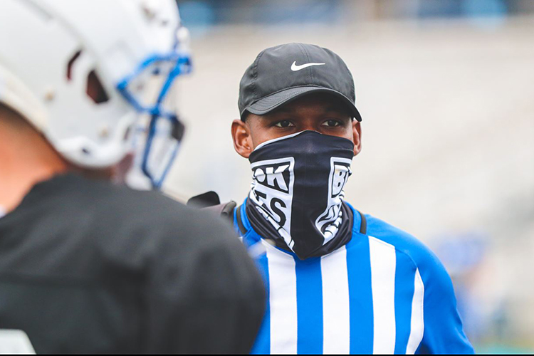 In this undated photo, MTSU Associate AD for Equipment Operations Larry Mapleslooks on during a Blue Raider football practice. Maples was recently honored as the 2020 Jeff Boss District IV Equipment Manager of the Year. (Photo by MTSU Athletics Communications)