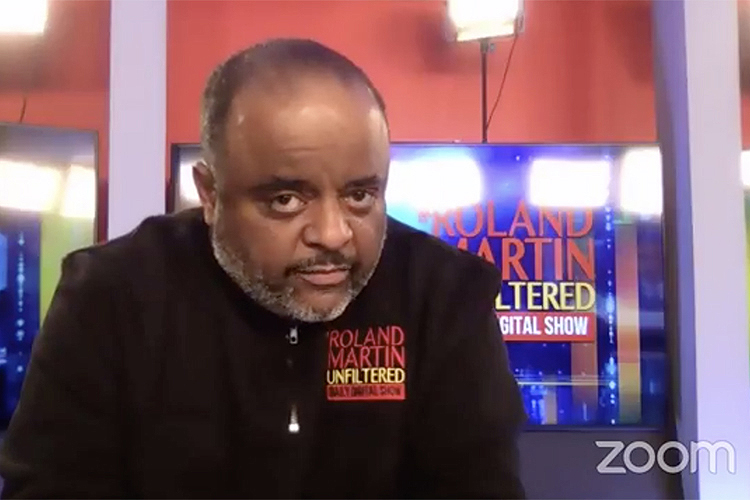 "This screen capture shows journalist Roland Martin during his Feb. 26 virtual ""State of the African American Union"" keynote address as part of Middle Tennessee State University's Black History Month celebration."
