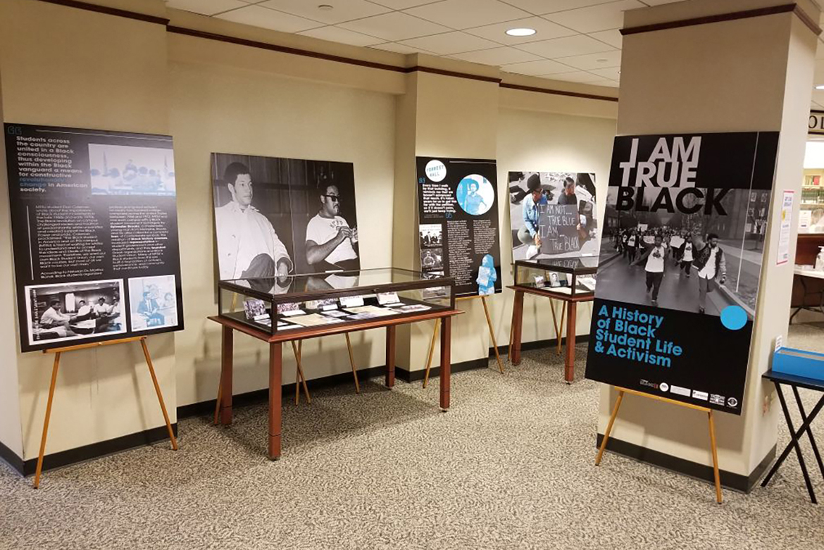 """The """"I Am True Black"""" exhibit, created by the Albert Gore Research Center, is on display on the first floor of the James E. Walker Library through the end of the Spring 2021 semester. It explains African American student activism at MTSU through the decades. (MTSU photo)"""