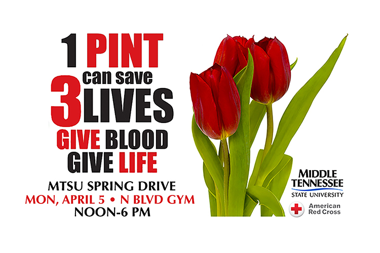 MTSU's spring 2021 blood drive is set from noon to 6 p.m. Monday, April 5, at the North Boulevard Church of Christ, located a quarter-mile north of campus at 1112 N. Rutherford Blvd. This blood drive, sponsored by the university's Department of Health and Human Performance, is open to MTSU students, faculty, staff, alumni, friends and neighbors across Middle Tennessee. Each donor will receive a T-shirt as thanks for their lifesaving help.