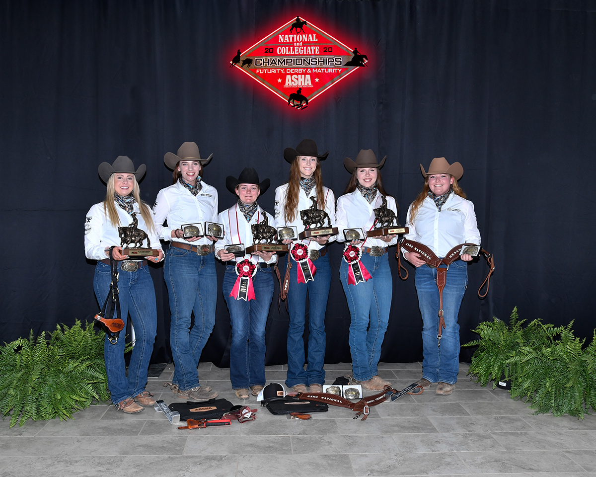 MTSU 2021 ASHA National Show participants Rachel Petree, left, Lindsay Gilleland, Louann Braunwalder, Taylor Meek, JoBeth Scarlett and Jordan Dillenbeck pose with the individual awards they received during the competition held April 16-17 in the Nolan County Coliseum in Sweetwater, Texas. The Blue Raiders finished fourth overall after winning the 2019 Division 2 event. (Submitted photo by High Cotton Promotions)
