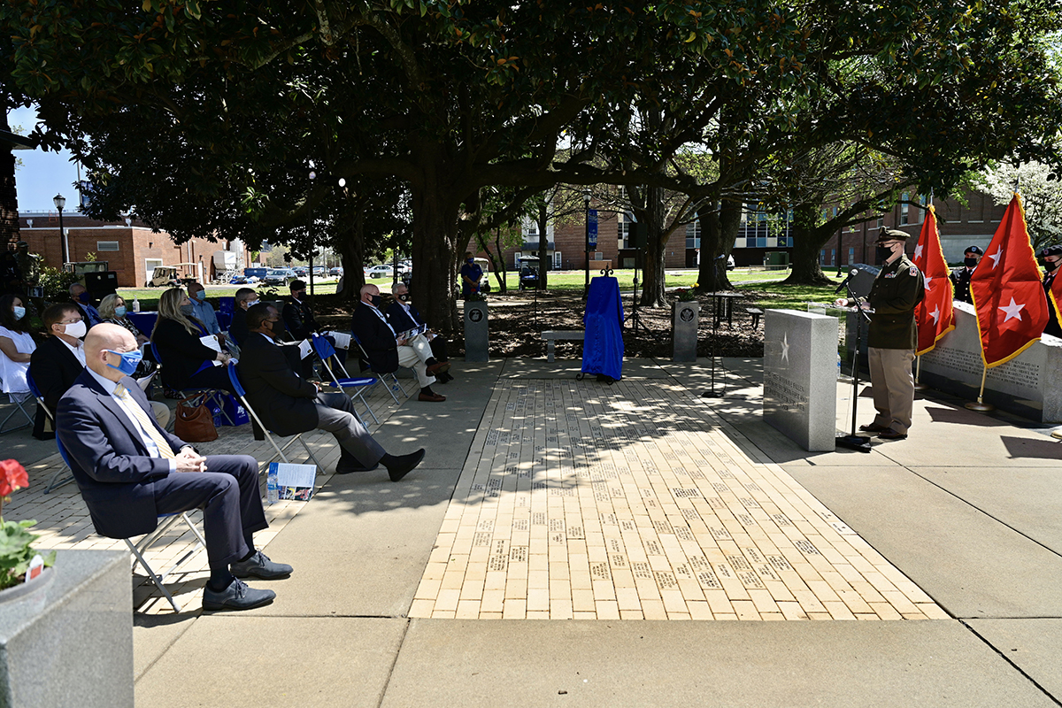 Brig. Gen. Robert S. Powell Jr., an MTSU alumnus, addresses the gathering of family, friends, MTSU officials, general officers and others Monday, April 12, at the Veterans Memorial outside the Tom H. Jackson Building on the MTSU campus. During the ceremony, there was an unveiling of a commemorative brick in his honor. Powell is a 1991 graduate of MTSU and its ROTC program. He is deputy commanding general of the 335th Signal Command in East Point, Georgia. (MTSU photo by Andy Heidt)