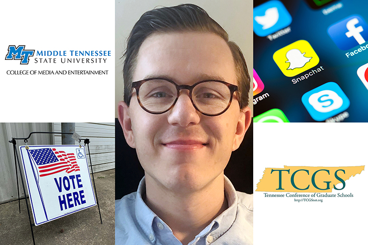 "2020 MTSU media master's alumnus Ben Burnley is shown between logos of MTSU's College of Media and Entertainment and the Tennessee Conference of Graduate Schools and file images of social media icons and a sign outside a polling place that reads ""Vote Here"" with a U.S. flag and a handicap-accessible logo. (photos submitted/file photos)"