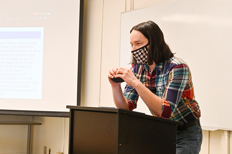 Zach Thomas, a Middle Tennessee State University math graduate student, teaches one of his undergraduate classes as a teaching assistant at the Kirksey Old Main building on March 10, 2021. (MTSU photo by Stephanie Barrette)