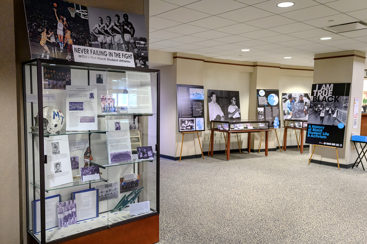 """The Albert Gore Research Center and James E. Walker Library opened an exhibit called """"I Am True Black: A History of Black Student Life & Activism"""" in the library on the first floor just past the elevators. The exhibit, which will be a part of MTSU Alumni Spring Showcase April 9-17, explores the history of Black student protest movements, the foundation and work of Black student organizations and other aspects of Black student involvement in MTSU's campus life from the 1960s to present. It will be open during regular library hours. (MTSU photo by J. Intintoli)"""